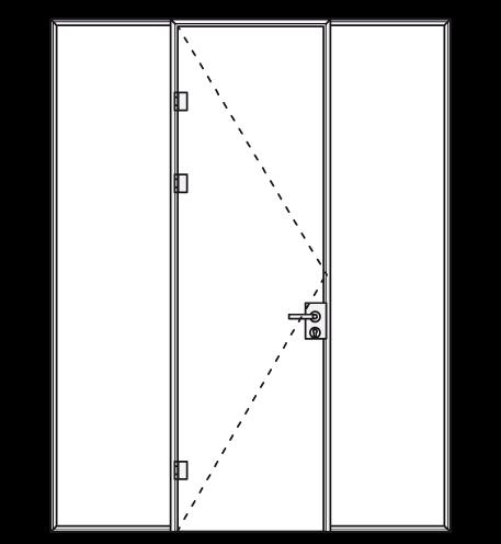 Hliníková zárubeň AT35 typ 360 3000x2500mm Elox nerezi